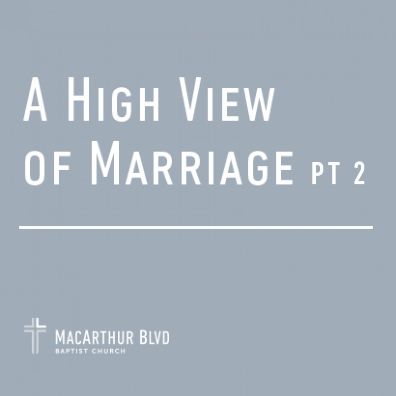 A High View of Marriage: Pt. 2