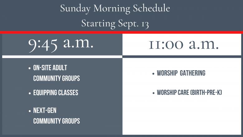 Fall 2020 – Sunday Schedule